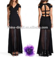 latest fashion ladies Cross back short sleeve off the shoulder high waist Black Backless Chiffon maxi Dress