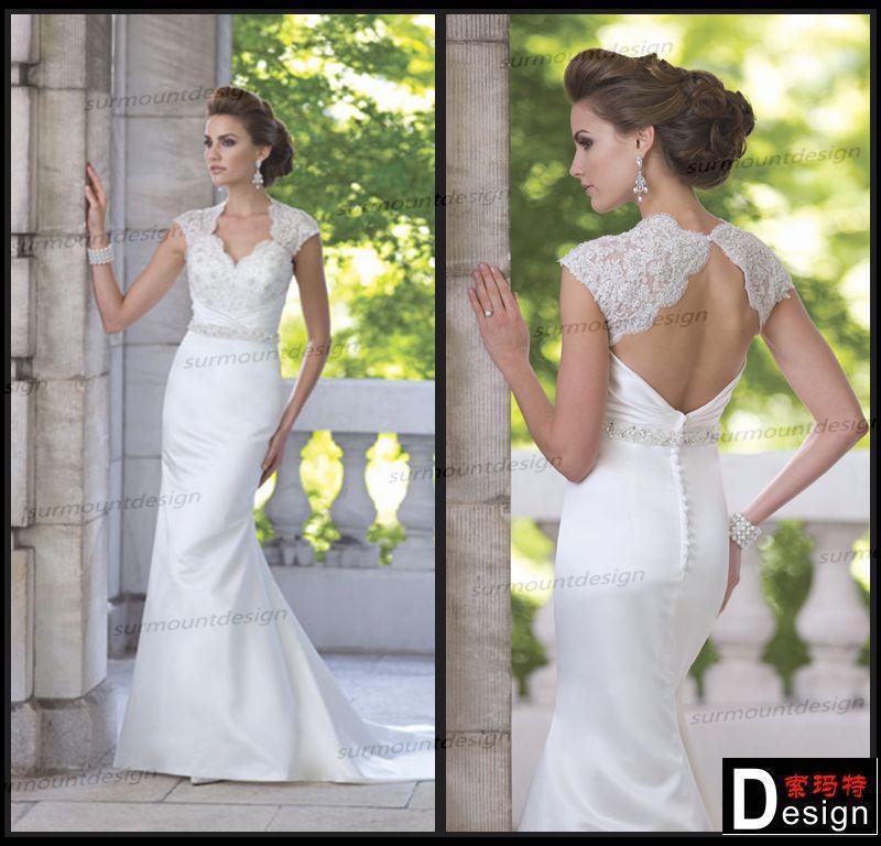 Tradicional Sweetheart frisada abrir voltar trem da varredura cetim vestido de casamento branco 2014