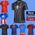 Mais o tamanho dos homens da moda t-shirt manga curta homem aranha super-homem veneno de capitão américa batman de ferro de alta moda masculina roupa