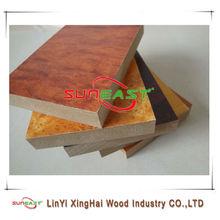 Linyi SUNEAST/ash/beech/cherry/teak/walnut/sapeli/oak melamine MDF