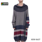 Fashion Ladies Intarsia Winter Knitted Long Sleeve Dress