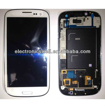Wholesale Best quality LCD screen with digitizer touch panel, LCD assembly with frame for Samsung galaxy S3 i9300