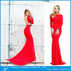 2014 New Design Sexy Red Boat Neck Low Back Floor Length Evening Dress
