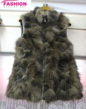 High quality of soft warming raccoon fur vest