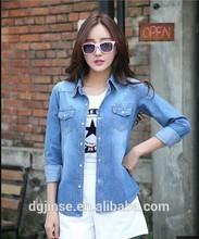 Summer Autumn Casual Shirt Women Long Sleeve Ladies New Fashion Denim Blouse Jean Shirts