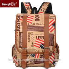 Fashion vintage style canvas US flag backpack big capacity