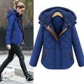 新しい女性の暖かい2014年スリムフード付き冬のジャケットコート大きいヤード