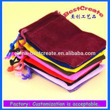 Custom logo top fabric small Drawstring velvet bags for gifts