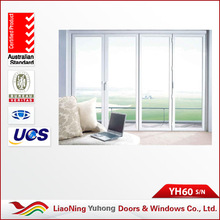 High quality YH 60 series bifold opening double glazing exterior pvc folding doors