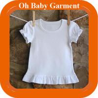 Cute Girls Blank Ruffle Sleeve T Shirt White Cotton T Shirt Children Custom Top T Shirt Wholesale Baby Clothes China Supplier