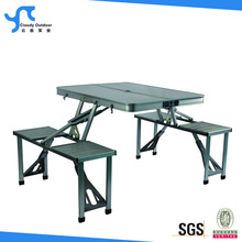 suitcase aluminum folding picnic table with 4 seats