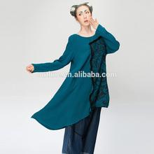 2014 Original design retro long sleeve irregular hem tie dye shirt loose plus size t-shirts women