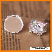 2014 New Arrival Classical 15mm Round Crown Earring clip bezel,fit 15mm Cameo cabochon,Earring blanks,silver earring ZTBB-ER0003