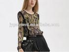 Fashion women blouses long sleeve camouflage print chiffon blouse