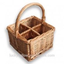 willow Drinks baskets, ,Glass Divider Basket,wicke bottle carrier basket
