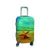 colorful print abs travel trolley luggage bag