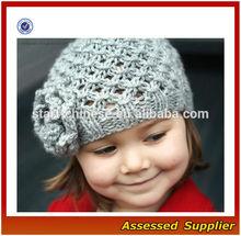 XY247/ Kids fashion crochet knit winter beanie hat/ chunky knit beanie hat with flower