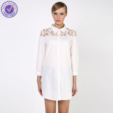 2015 spring classic design ladies formal white cotton long sleeve special lace top front tops shirt and Blouse