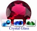 水晶多面的なガラスのラウンドカットブルー水晶石