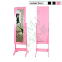 Living Room Free Standing Jewellery Armoire With Full-Length Mirror in Hot Pink