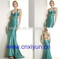 High Quality Imitated Silk Luxury Sexy Evening Dress Open Back --- EV0045