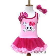 Halloween Girls Light Hot Pink Polka Dots Bow Skull Tutu Pettiskirt Party Dress and Headband