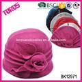 Alta calidad de moda de fieltro de las para mujer de color rosa con flor tejida sombrero de lana de venta al por mayor