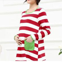 D23667Q 2014 new designs autumn fashion long sleeve cotton maternity stripe clothes