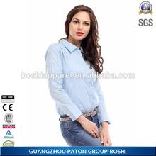 2015 Latest best long sleeve women uniform shirt