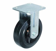 Heavy duty rubber caster wheel with fixed rigid plate