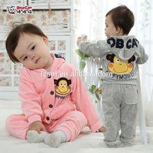 OEM autumn children Long Sleeve Sport Clothes Hoodies 2pcs suits cheap baby boy girls cartoon monkey clothes