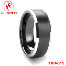 Black Plated Brushed Surface Tungsten Carbide Rings For Men