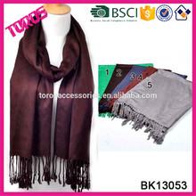 2014 Winter Lady Fashion Pashmina Wrap Plain Scarf Wholesale With Tassels Tan Shawl Solid