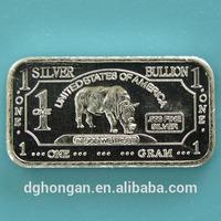 A18 1 Gram 999 Fine Silver African Rhino Bar