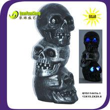 solar halloween decoration resin material skull QYS11441K-1
