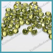 Diamond Cut Light Olive Loose CZ Stone