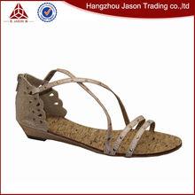 Unique design flat peep toe 2015 ladies sandal shoes