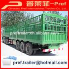 tri-axle big cargo box semi trailer/two storage livestock trailer for cattle transportation