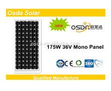 175watt -200 watt mono solar panel for sunpower system with IEC CE PC TUV CEC ISO certificate