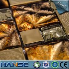 china glass glossy backsplash decorative metal mix glass mosaic tile
