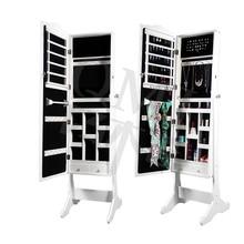 Mirrored Jewelry Armoire Cabinet Organizer Storage Mirror Stand Lock Box Case