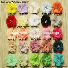 2 '' headbands chiffon flowers with pearl , high quality shabby flowers with rhinestone