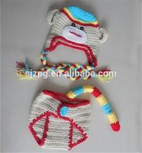 Handmade bebê recém-nascido daiper cobre crochê cinza macaco