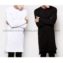 100% Cotton Long Sleeve Stepped Hem Longline T-Shirt Men