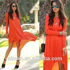 European and American star with new fall fashion irregular loose long-sleeved chiffon dress