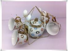 new product fine porcelain golden 13pcs colored tea set ceramic flower pot