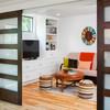 Contemporary Family Room Double Glass Sliding Barn Doors, Interior Wooden Glass Sliding Doors