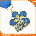 Toda la venta de oro/níquel/personalizado de bronce de adjudicación deporte medallón de metal relleno con emamel/medallas de metal con forma de flor