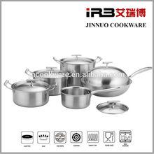 10 PCS 3 Ply Stainless Steel aluminum core Cookware Set (30cm Wok,24cm,22cm,18cm Stockpot,16cm Milk pan, with 5 Lids)