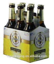 Portable Printed Cardboard 6 Pack/Bottle Beer Carrier Wine Packaging Box